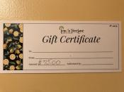 b $75 Gift Certificate